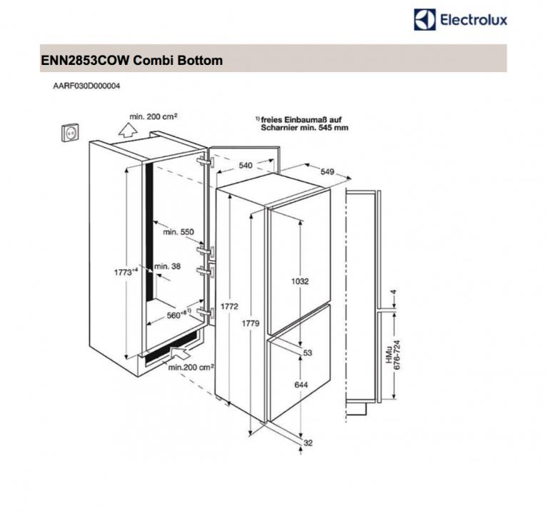 Electrolux Integrated Fridge Freezer - ENN2853COW