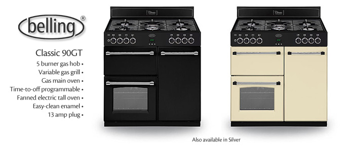 Belling CLASSIC900GT 90cm Gas Range Cooker – Black The Appliance Centre NI