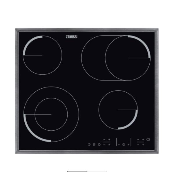 ZANUSSI ZEV6646XBA Electric Ceramic Hob - Black & Stainless Steel The Appliance Centre NI